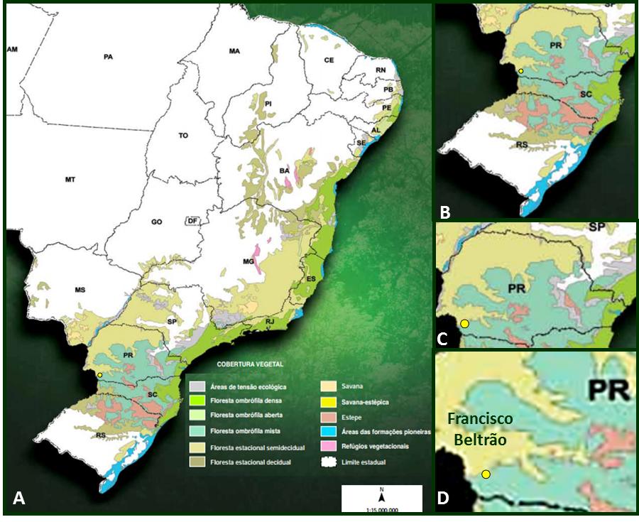 Distribuição das formações vegetais que compõem a Mata Atlântica no Brasil (A), na Região Sul (B), no estado do Paraná (C) e em Francisco Beltrão (D).