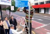 Prefeito Cantelmo Neto e o vice, Eduardo Scirea, acompanharam a implantação das primeiras placas nesta semana