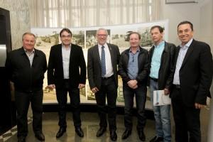 Luiz Bandeira, Cantelmo Neto, Edson Campagnolo, Agustinho Zucchi, Lessi Bortoli e Wilmar Reichembach na reunião da última semana