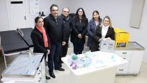 Elaine Angnoni, prefeito Cantelmo Neto, dr. Antônio Cortez, Rose Guarda, Patricia Malmann e Isolde Weschenfelder na entrega dos equipamentos, esta semana